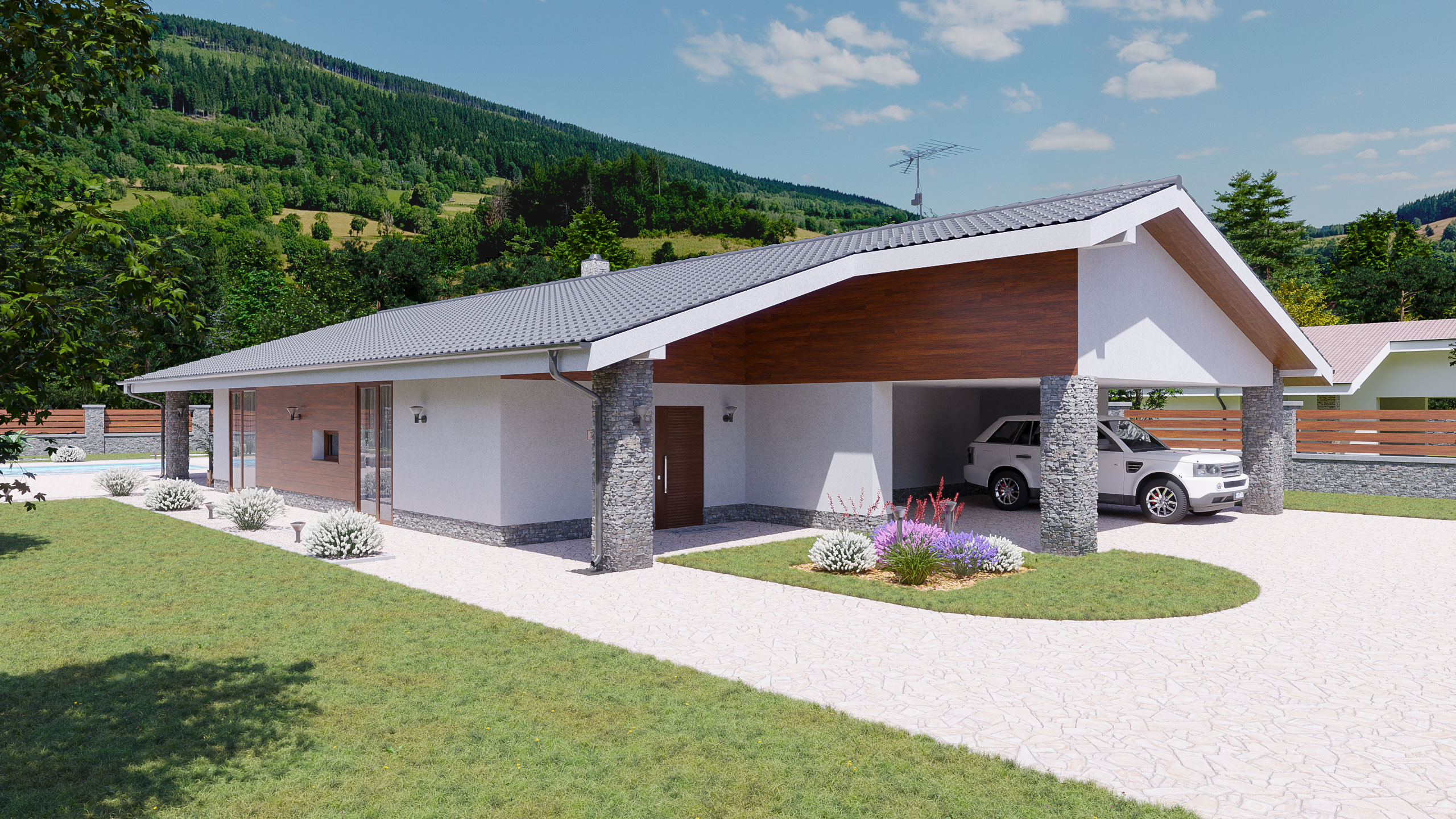 idea3d - vizualizácia rodinný dom 120m2 - deň 2