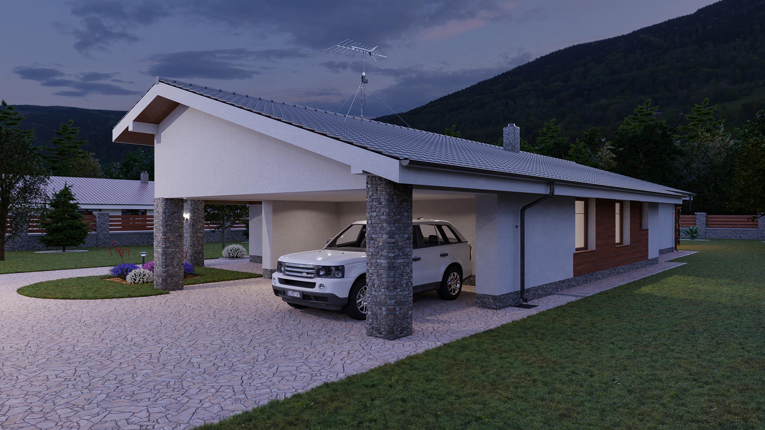 idea3d - vizualizácia rodinný dom 120m2 - večer 1