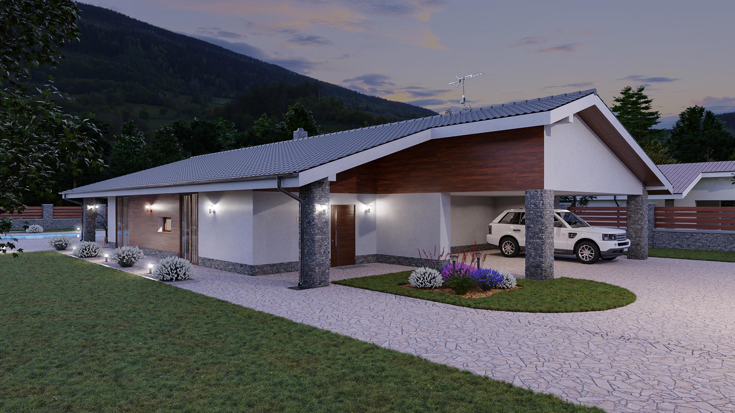 idea3d - vizualizácia rodinný dom 120m2 - večer 2