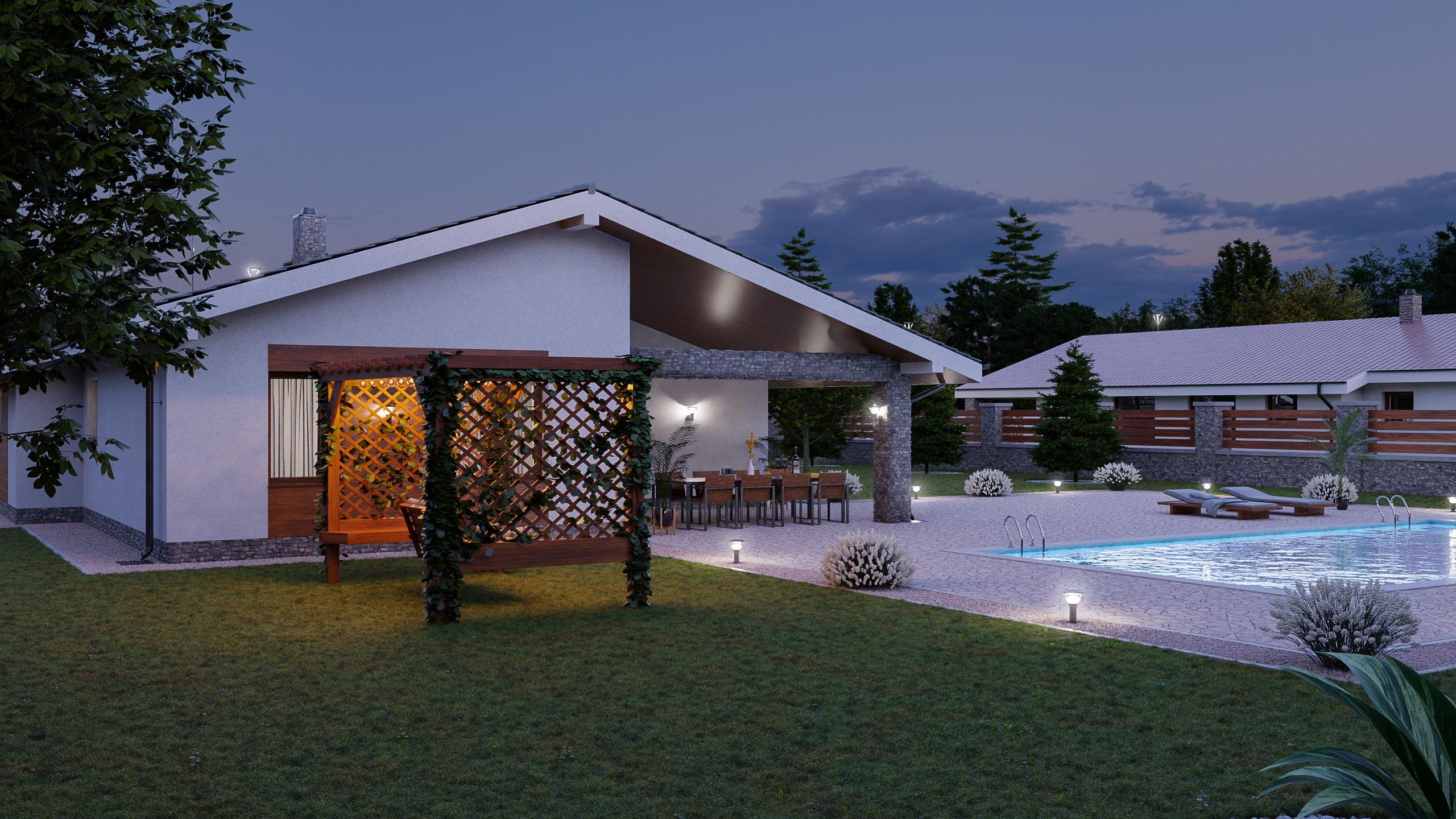 idea3d - vizualizácia rodinný dom 120m2 - večer 3
