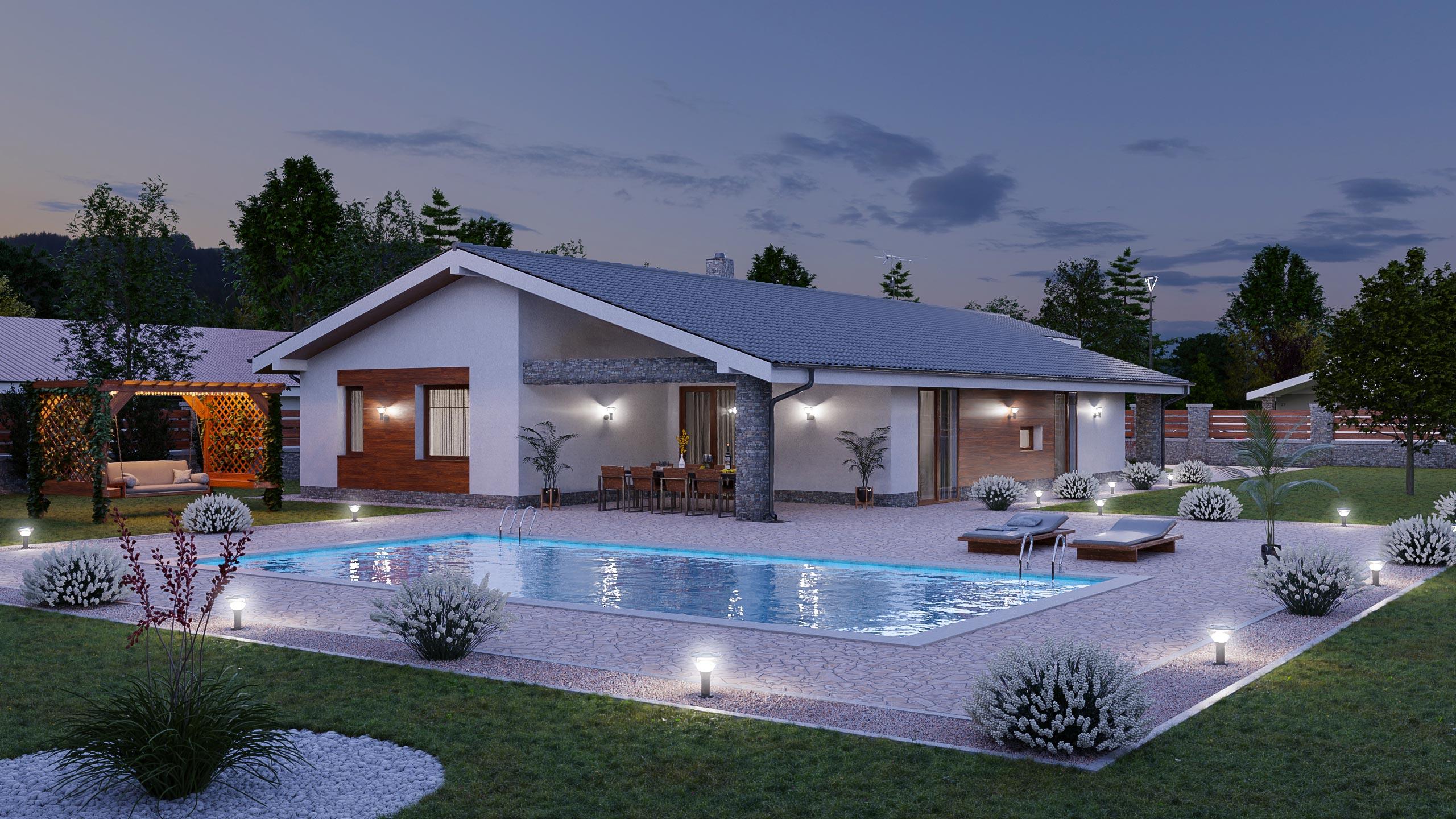 idea3d - vizualizácia rodinný dom 120m2 - večer 4