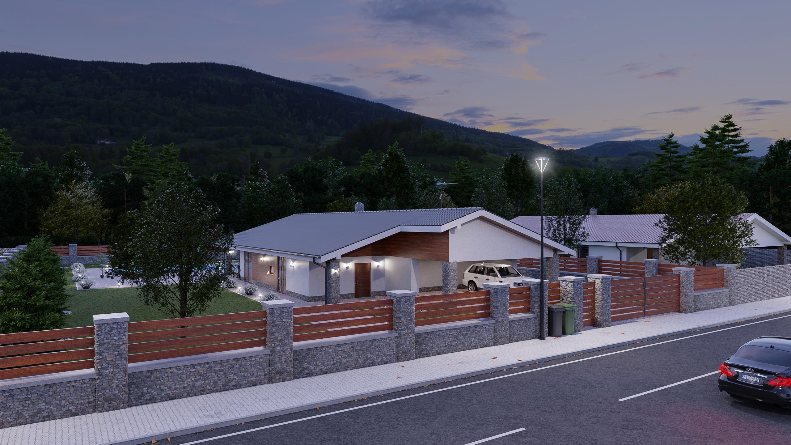 idea3d - vizualizácia rodinný dom 120m2 - večer 6