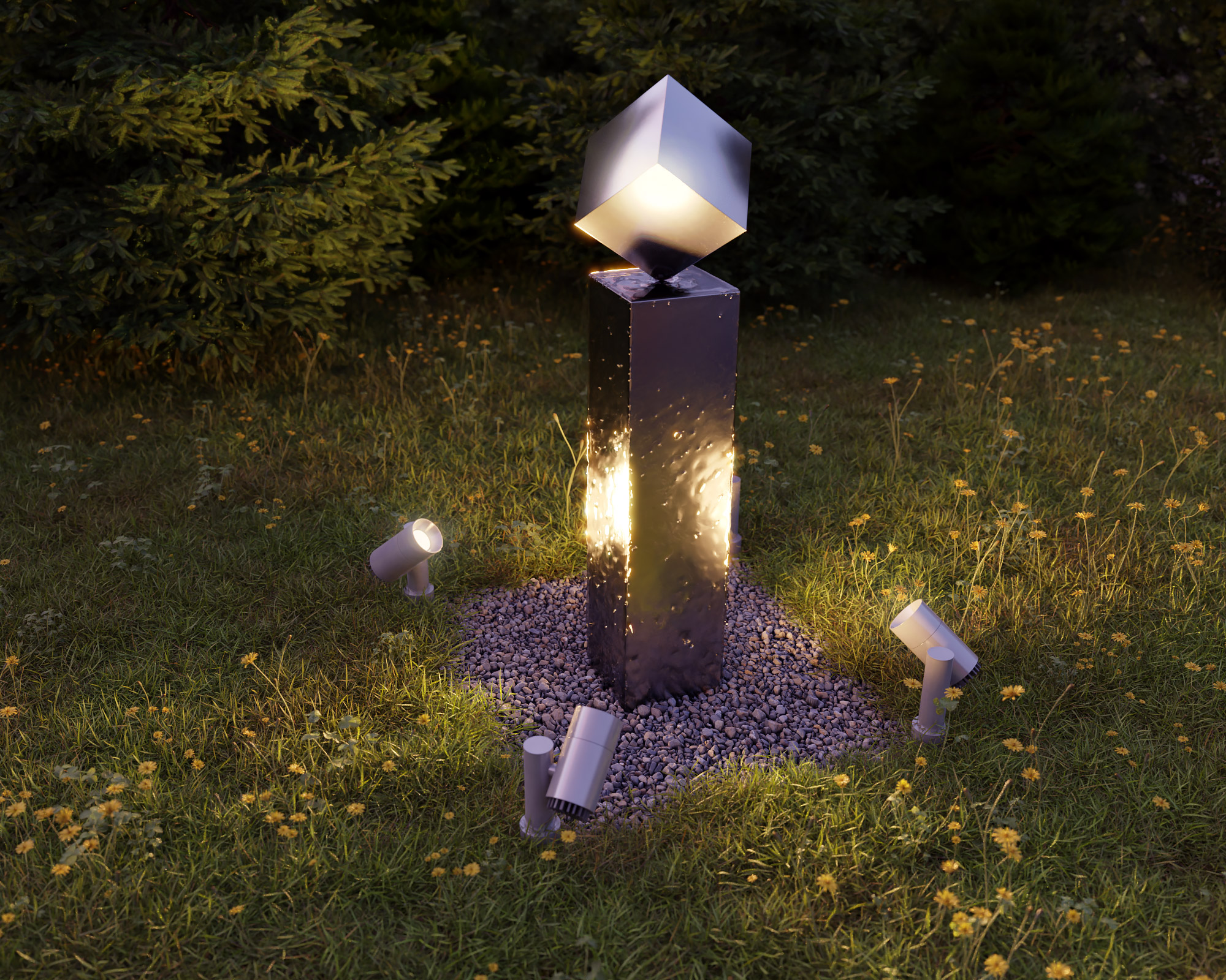 idea3d - vizualizácia exteriérová fontána oceľ 4
