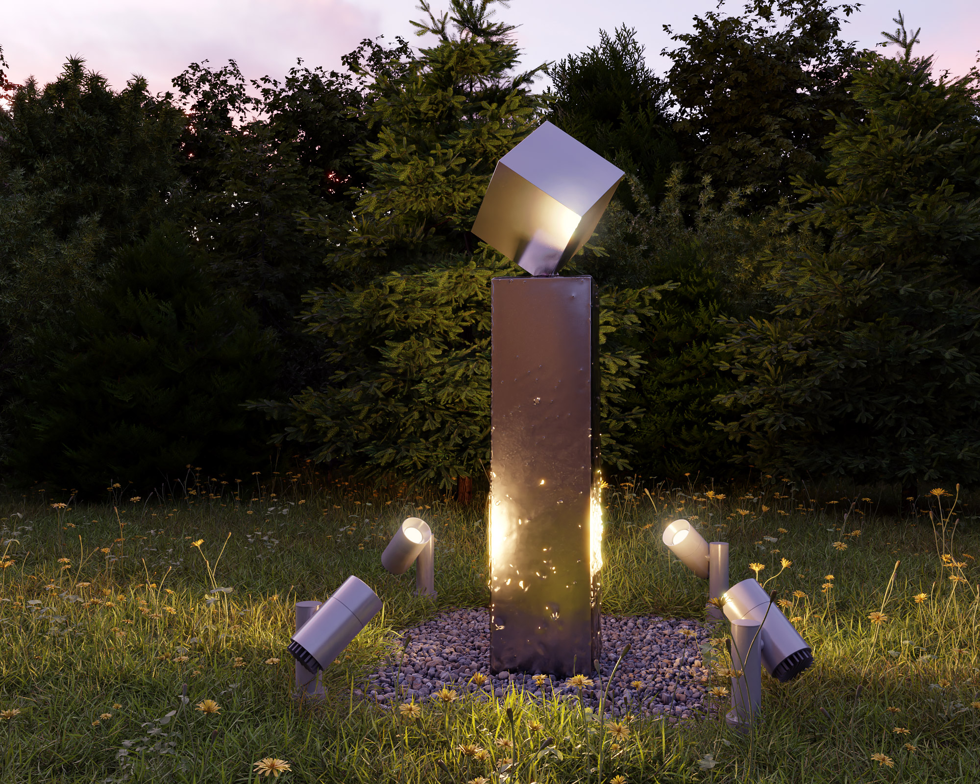 idea3d - vizualizácia exteriérová fontána oceľ 6