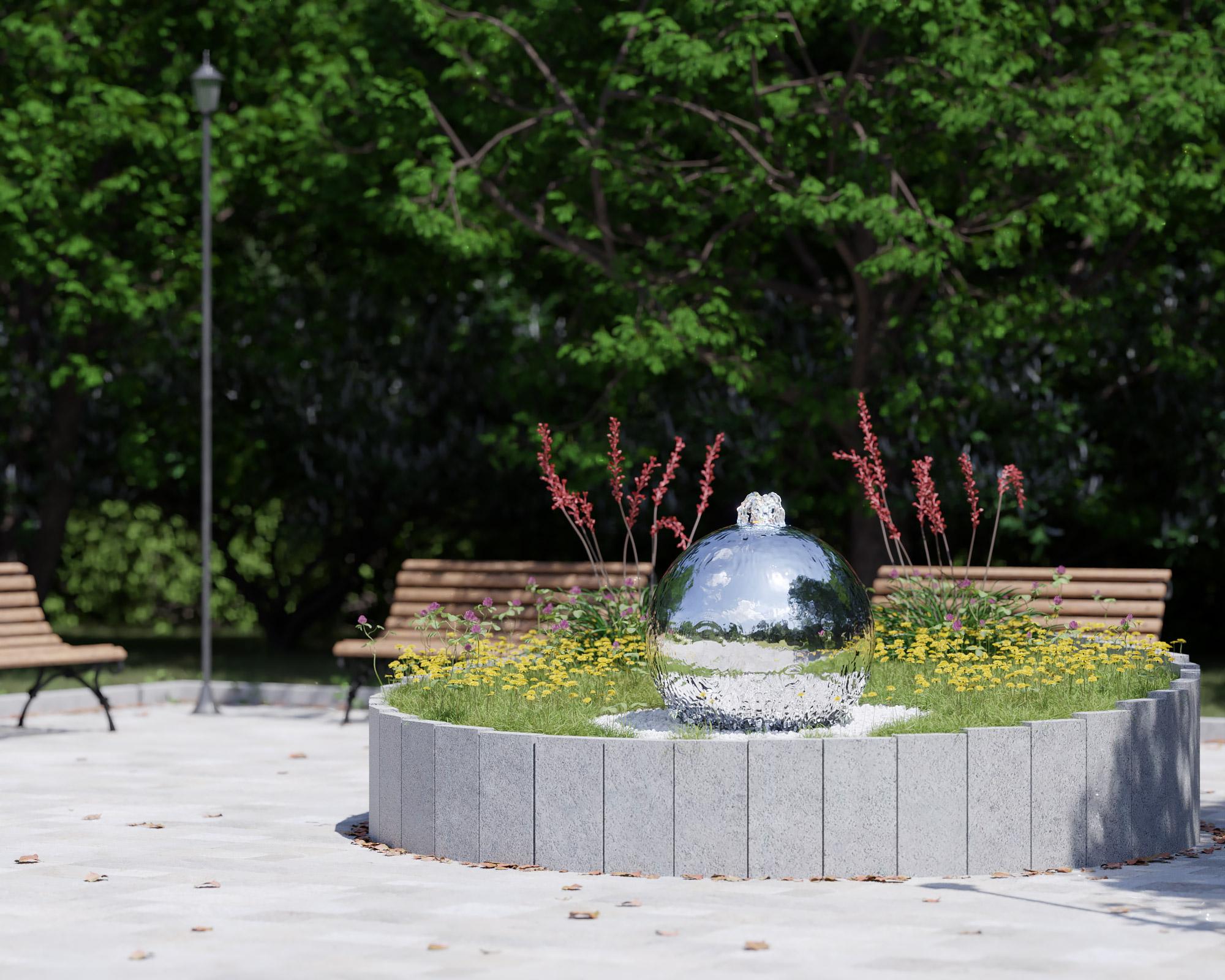 idea3d - vizualizácia exteriérová fontána oceľ 7