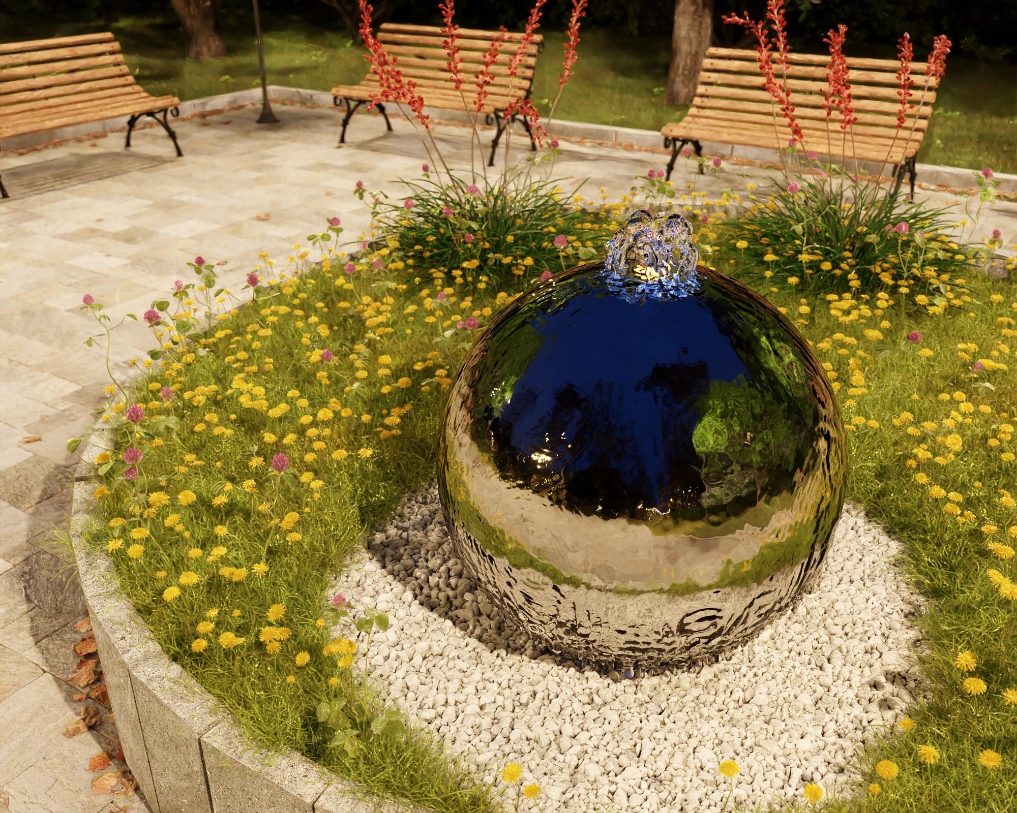 idea3d - vizualizácia exteriérová fontána oceľ 12