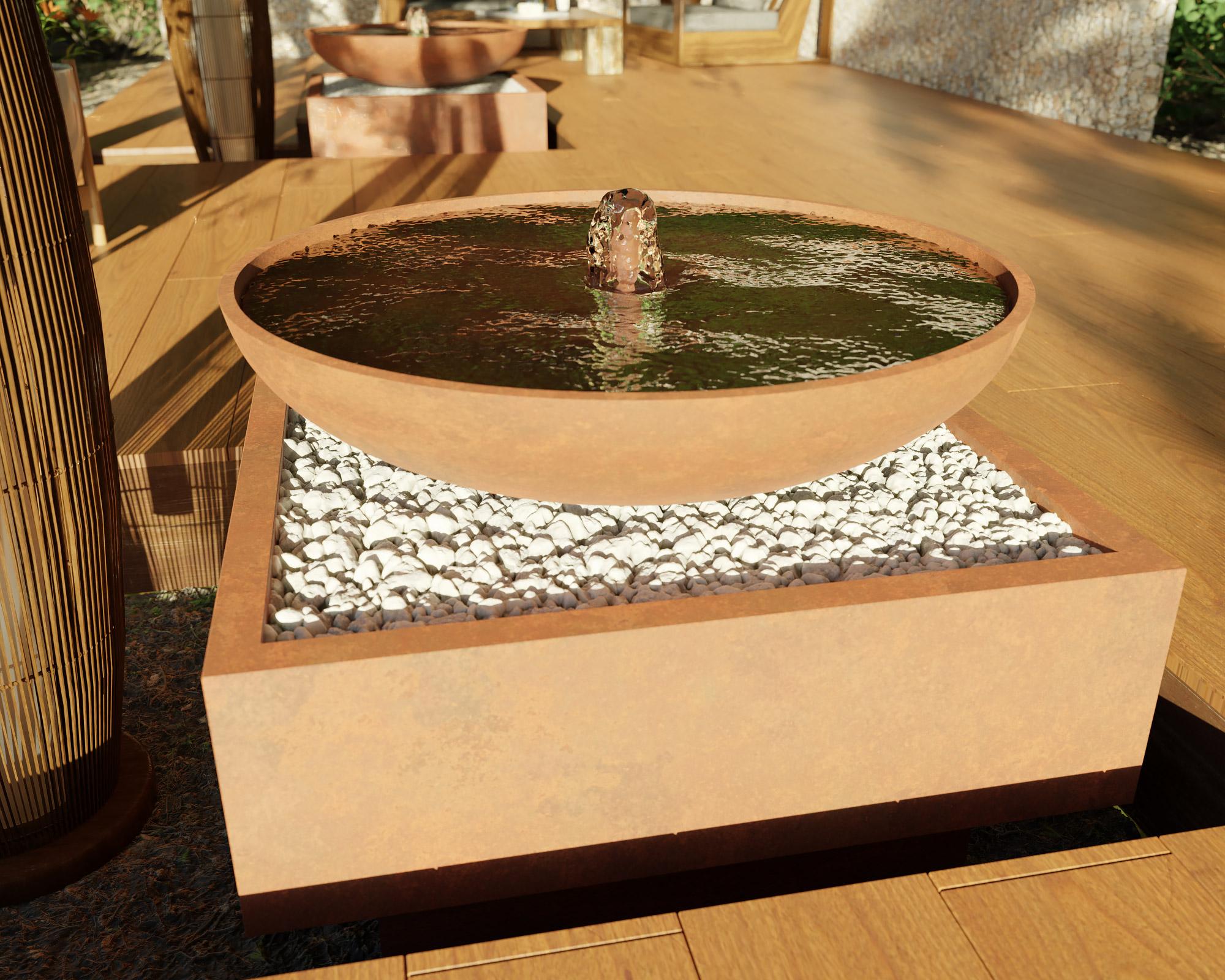 idea3d - vizualizácia exteriérová fontána corten 9