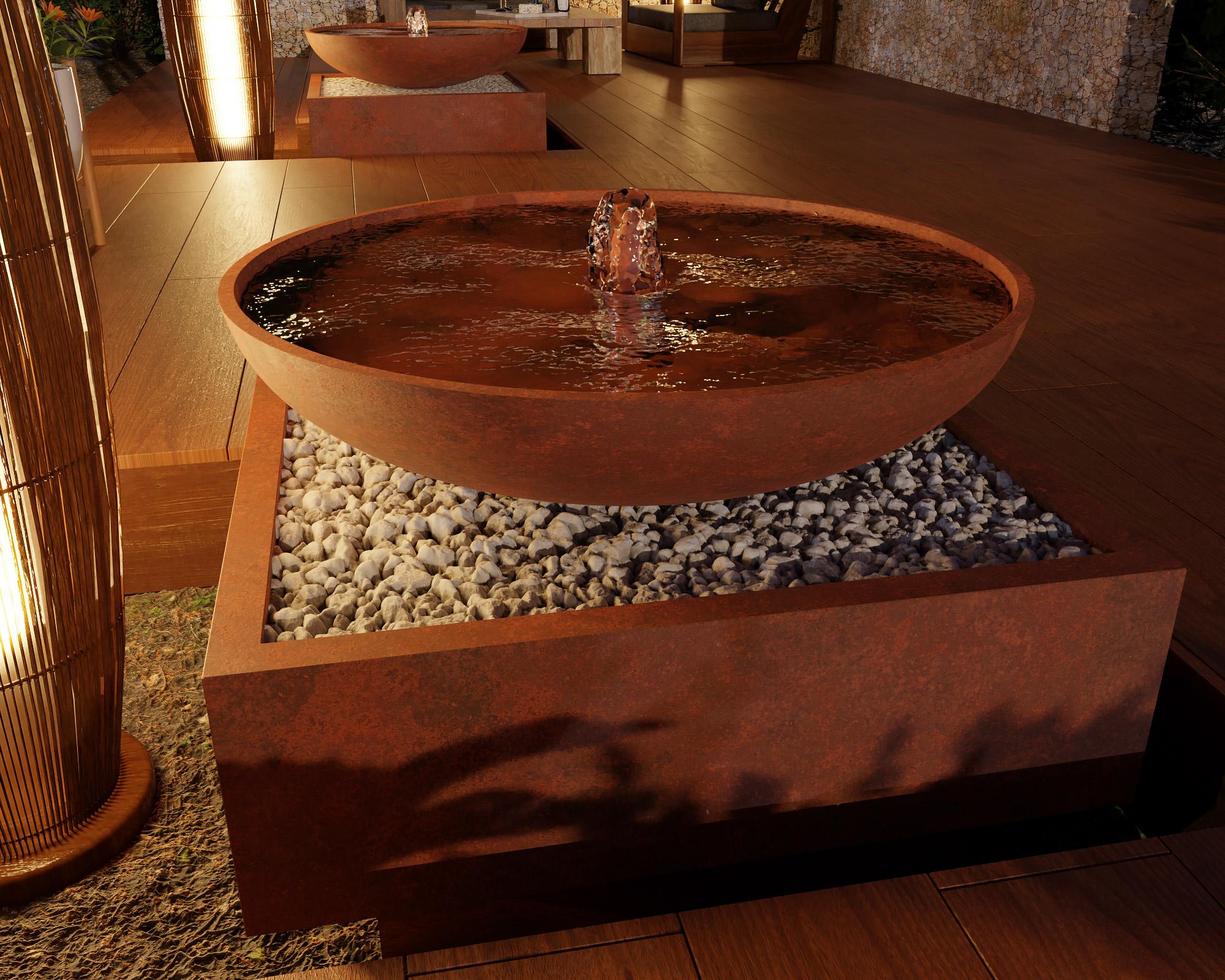 idea3d - vizualizácia exteriérová fontána corten 12