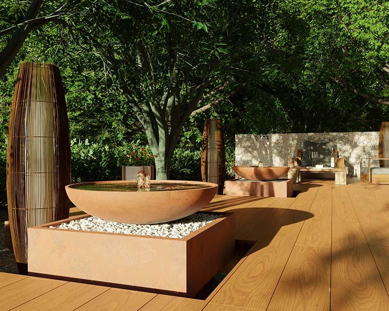 idea3d - vizualizácia exteriérová fontána corten den domov