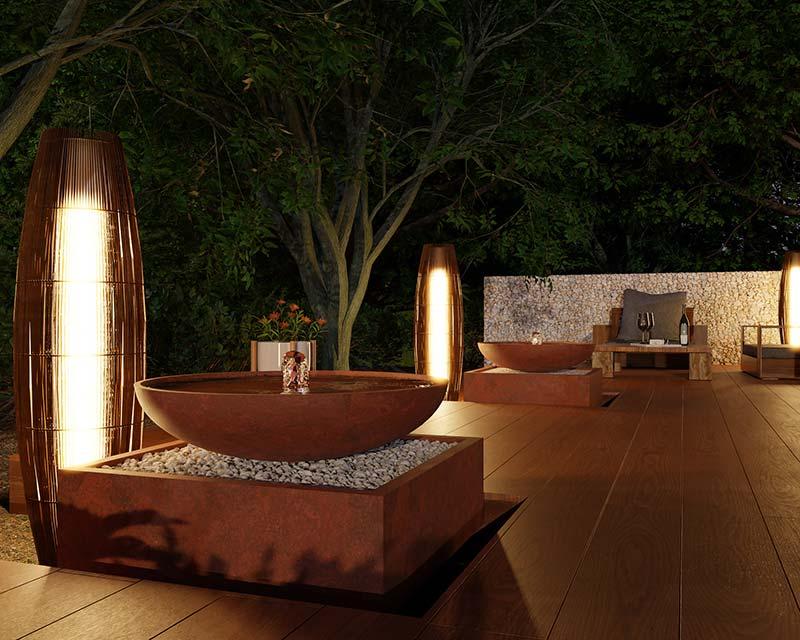 idea3d - vizualizácia exteriérová fontána corten vecer domov